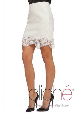 Cashmere lace trim skirt