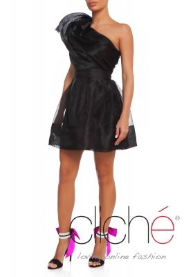 One shoulder organza frill dress in black