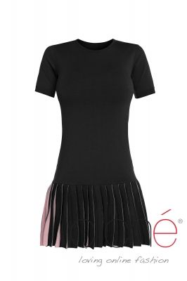 Pleated knit mini dress
