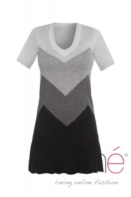 Short sleeve silver metallic knit dress
