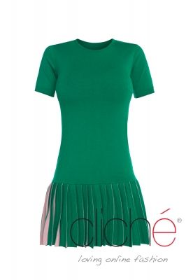 Pleated knit mini dress in green