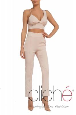 Asymmetric bra top in blush pink