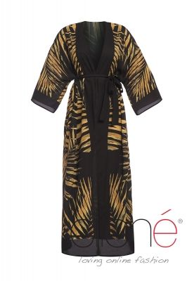 Black tropical Gold Maxi beach kimono