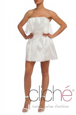 White organza sleeveless dress