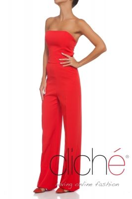 Bandeau jumpsuit with wide leg in bright red