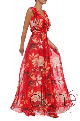 Maxi tea dress in red print