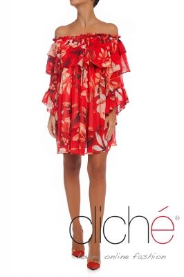 Drop shoulder boho dress in red print