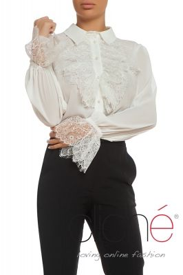 Shirt with lace frill sleeves and neck