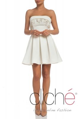Bandeau mini pleated dress with floral appliques and hand sewn beads