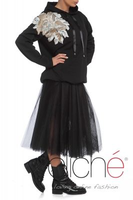 Black jumper with sequined applique