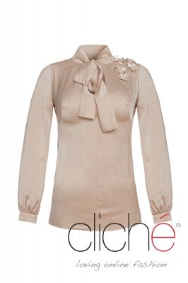 Satin shirt with flower applique
