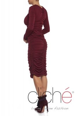 Ruched bodycon midi dress in burgundy