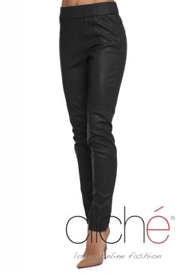 Leather skinny trousers in black
