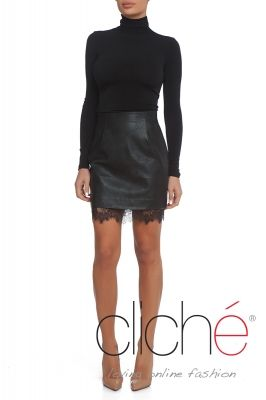 Leather mini skirt with lace trim in black