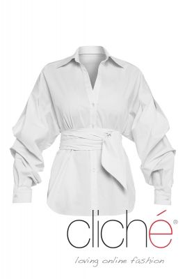 Puff sleeve white belted shirt