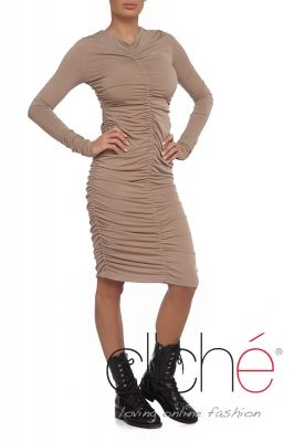 Ruched bodycon midi dress in beige
