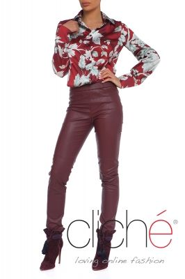 Printed long sleeve shirt in burgundy