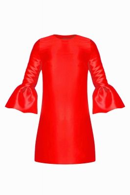 Frill sleeve taffeta smock dress in bright red