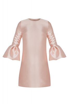 Frill sleeve taffeta smock dress in blush pink