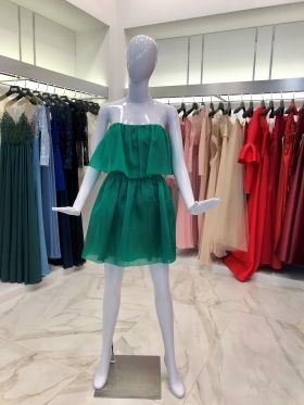 Green organza sleeveless dress