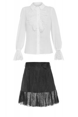 Set of skirt and trousers in white