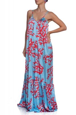 Blue coral maxi summer dress