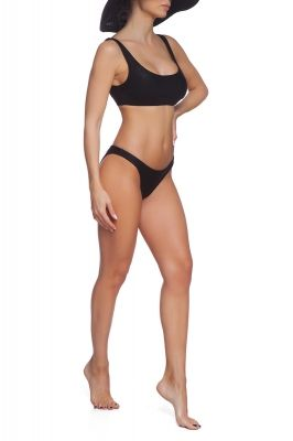 Wrinkle crop top bikini set