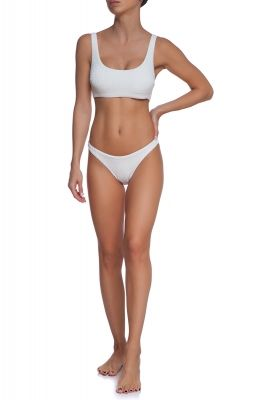 White skin crop top bikini set