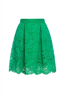 Pleated lace skirt in green