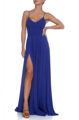Blue maxi dress with spaghetti straps