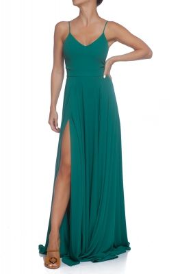 Green maxi dress with spaghetti straps