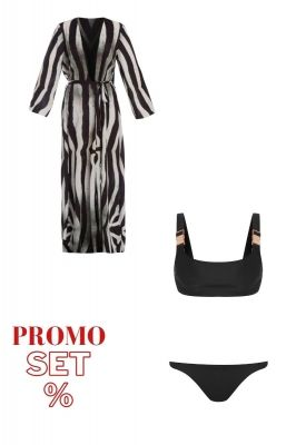 Beach set zebra beach dress and white swimsuit
