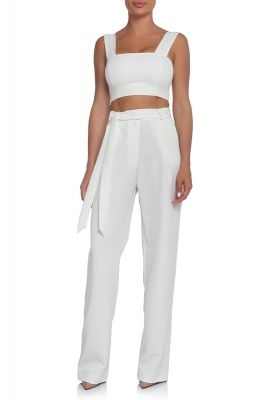 Wide leg pants in ecru