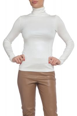 Shiny turtleneck blouse in white