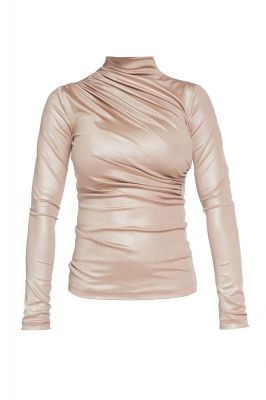 Metalic turtleneck blouse in beige