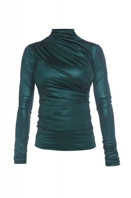 Metalic turtleneck blouse in dark green