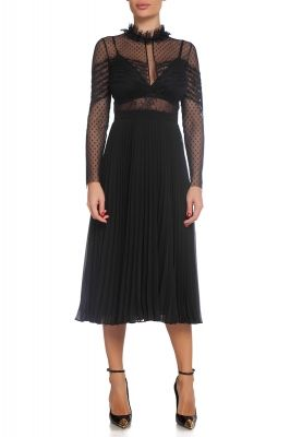 Dress with  pleats and lace elements
