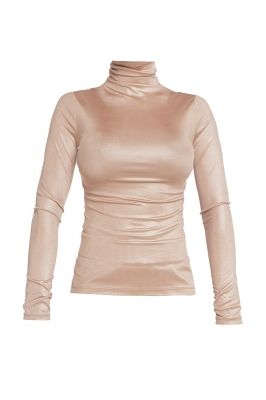 Shiny turtleneck blouse in gold beige