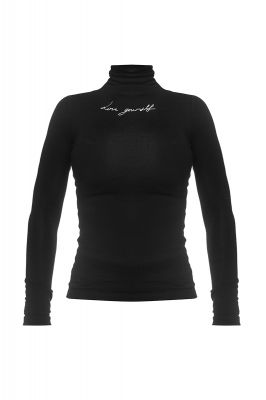 Black turtleneck blouse Love Yourself