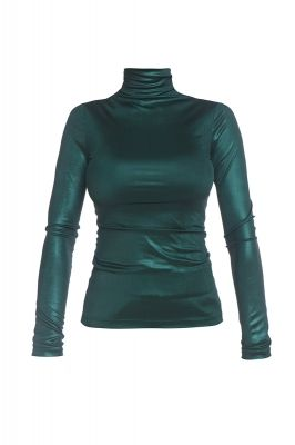 Shiny turtleneck blouse in dark green