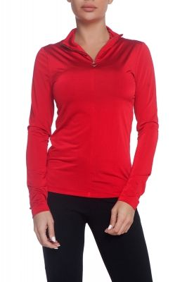 Turtleneck blouse with zip in red
