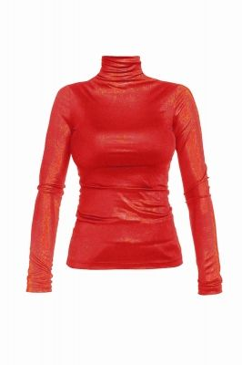 Shiny turtleneck blouse in coral red