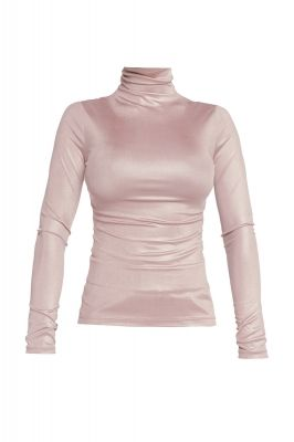 Shiny turtleneck blouse in powder pink