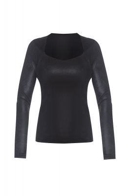 Metalic long sleeve top in black