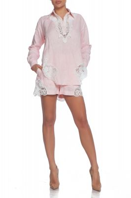 Linen shirt in pink with lace details