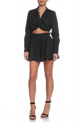 Crop linen shirt with lace panneling in black