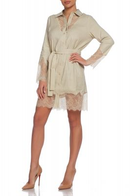Linen shirt in beige with lace